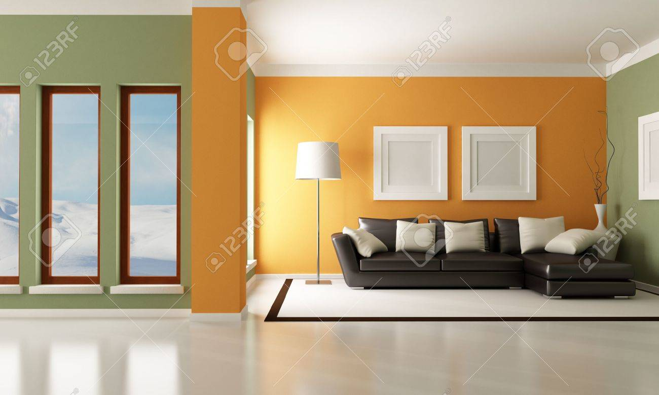Moderne wohnzimmer mit eleganter couch rendering das bild auf hintergrund ist ein mein foto