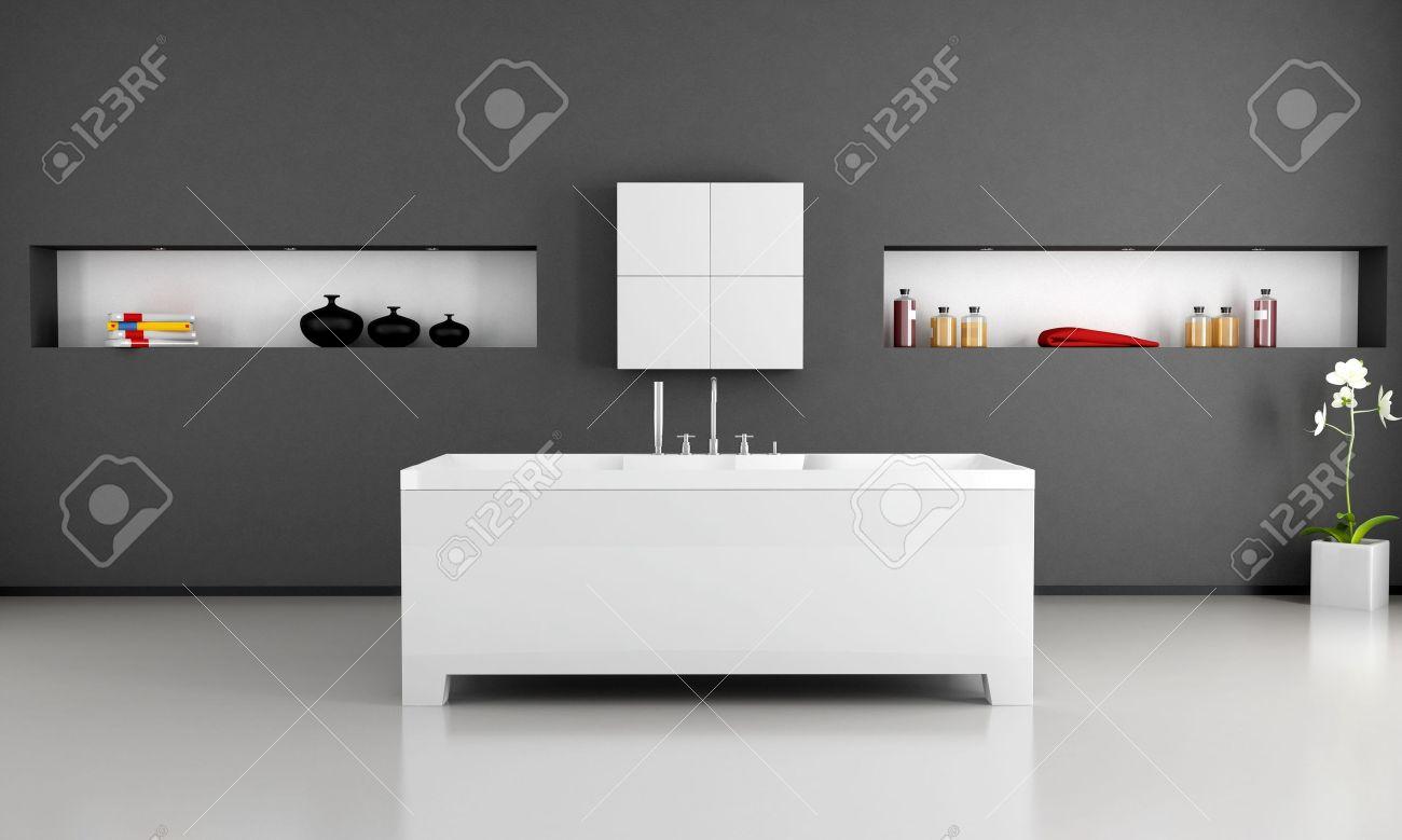 banque dimages noir et blanc salle de bain moderne avec baignoire minimaliste - Baignoire Salle De Bain Moderne
