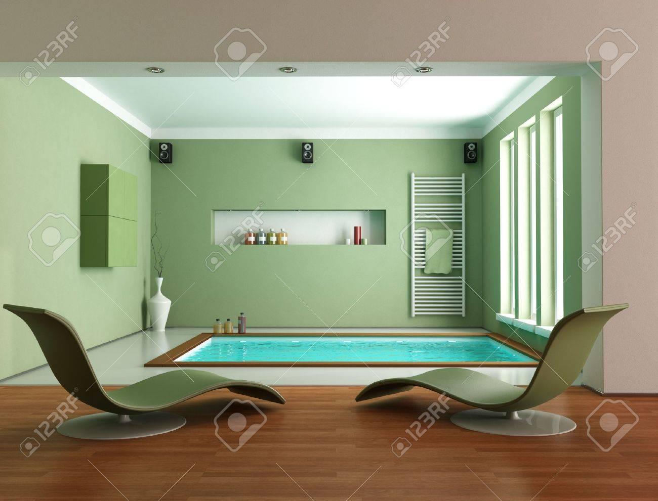 Charmant Minimalist Green Luxury Bathroom Wit Big Bathtub   Rendering Stock Photo    11451402