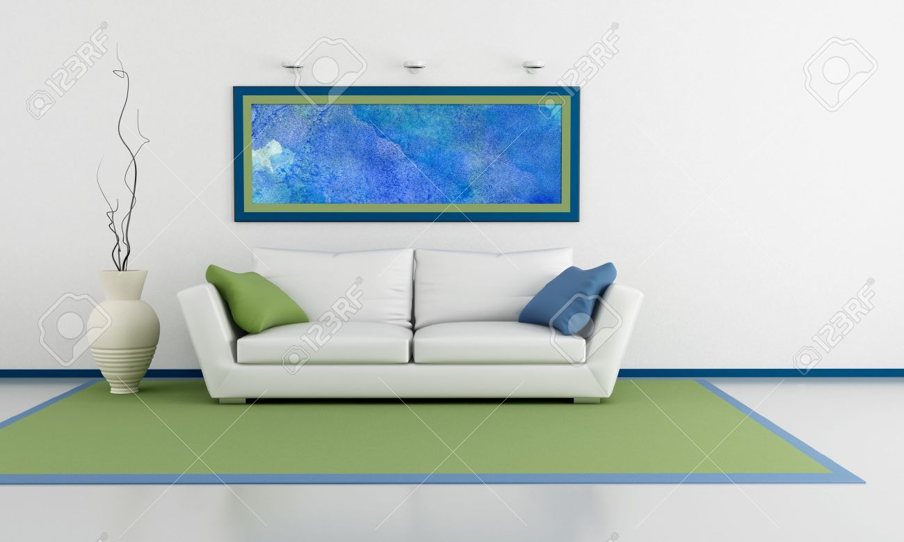 Minimalist Living Room With White Sofa Couch And Abstract Picture On Wall