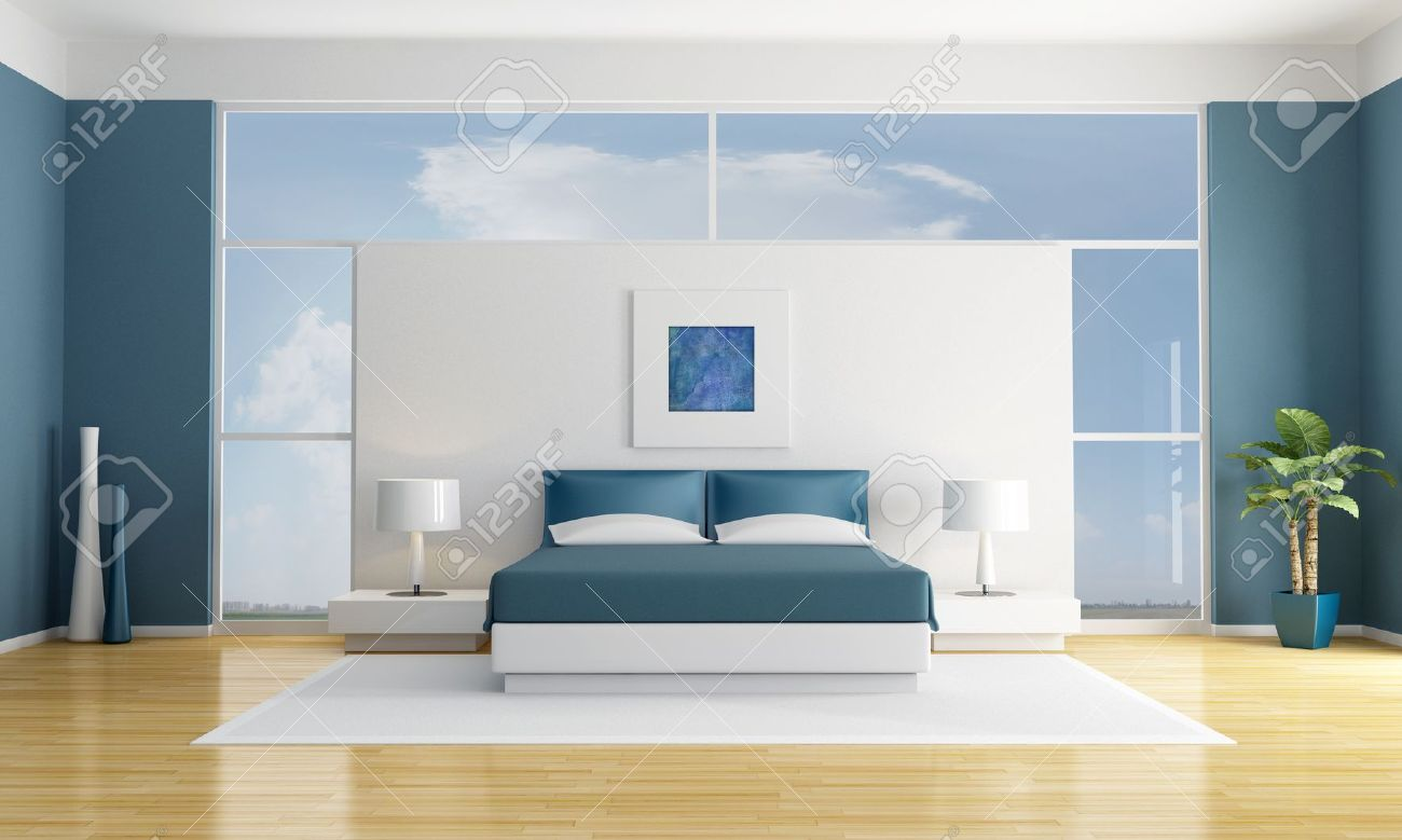 minimalist white and blue bedroom - rendering - the art picture on wall are my compositions Stock Photo - 11451437