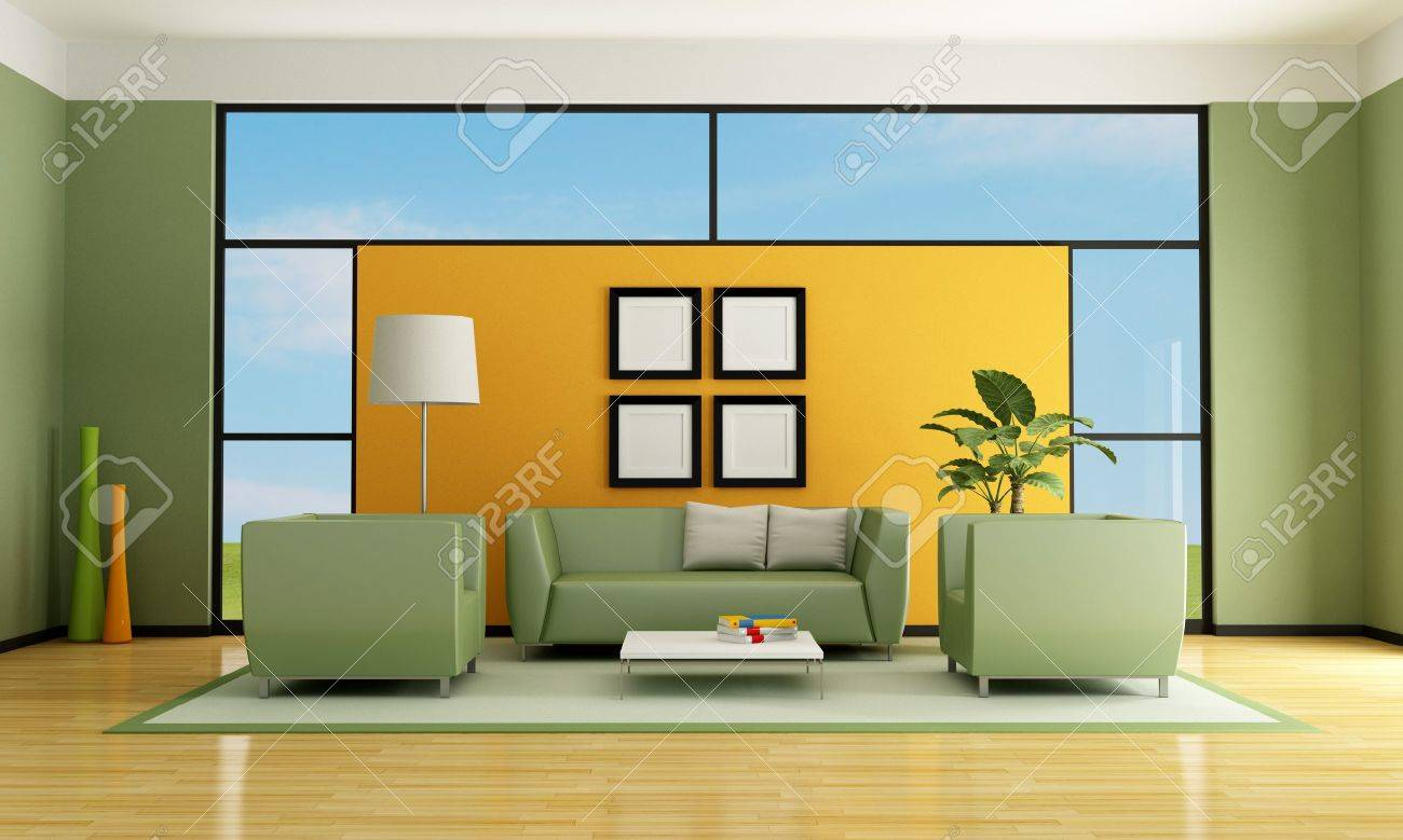Green And Orange Living Room With Sofa Armchair