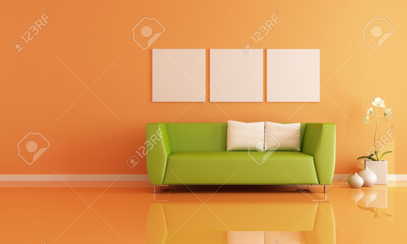 green sofa in a orange living room - rendering Stock Photo - 11853502