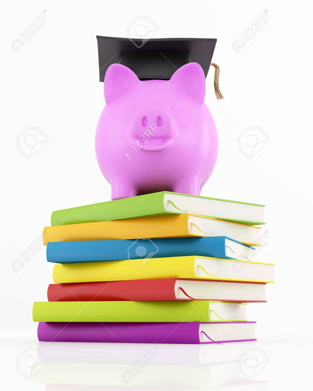 piggy bank with graduation cap on stack of colorful books on white - rendering Stock Photo - 11853499
