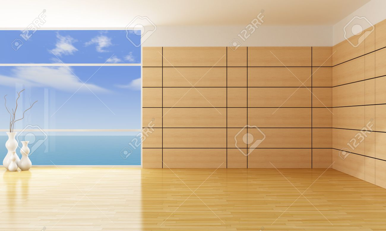 High Quality Empty Living Room With Wooden Panels   Rendering Stock Photo   11995100