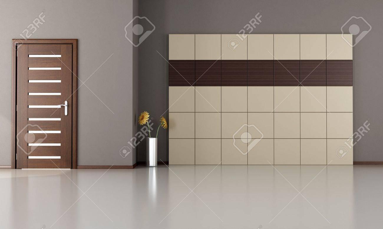 Chambre vide avec porte fermée moderne en bois et panneaux ...