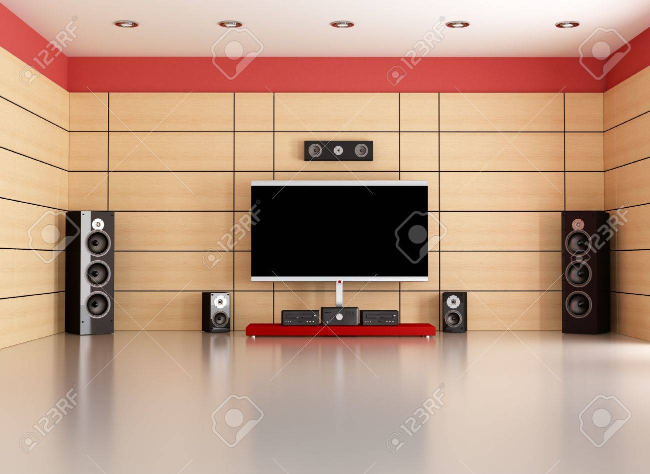 empty living room with home theater system - rendering Stock Photo - 11995103
