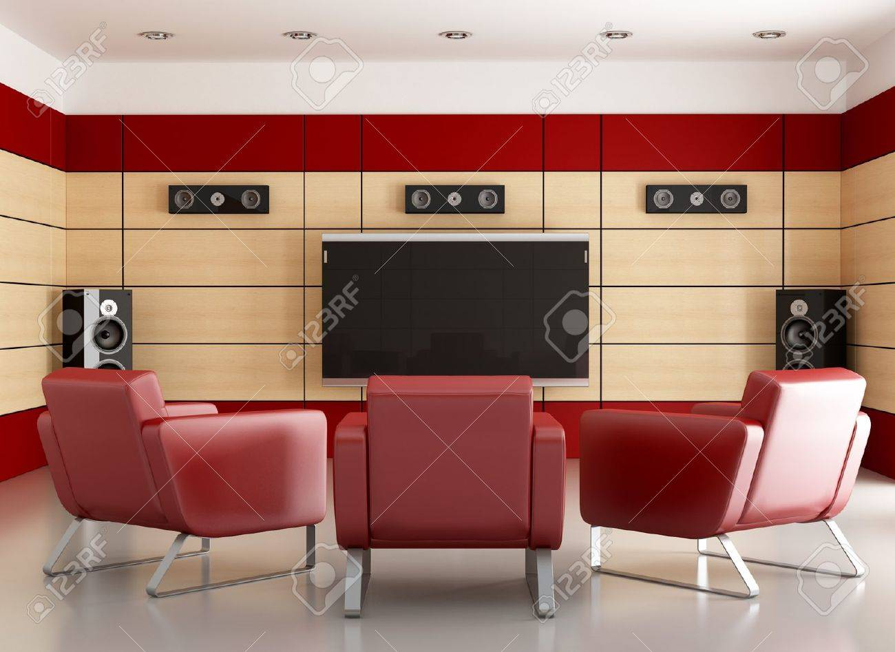 banque dimages home cinma avec des panneaux de bois et trois fauteuil rendu - Fauteuil Home Cinema