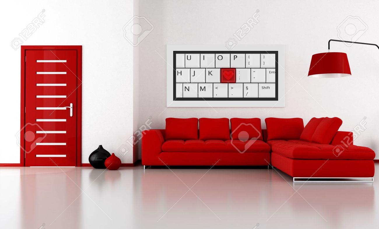 Soggiorno luminoso con divano ad angolo e porta - l\'immagine dell\'arte  sulla parete è amy composizione di rendering