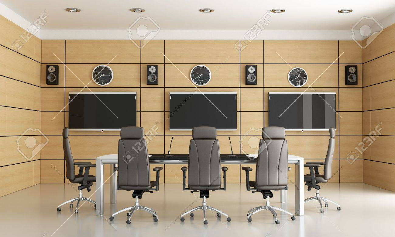 conference room for video conference - rendering Stock Photo - 12759668