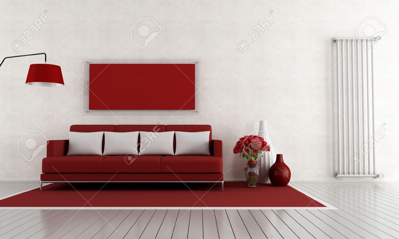 Modernen Roten Und Wohnzimmer Mit Couch Und Vertikale Heizkörper ...