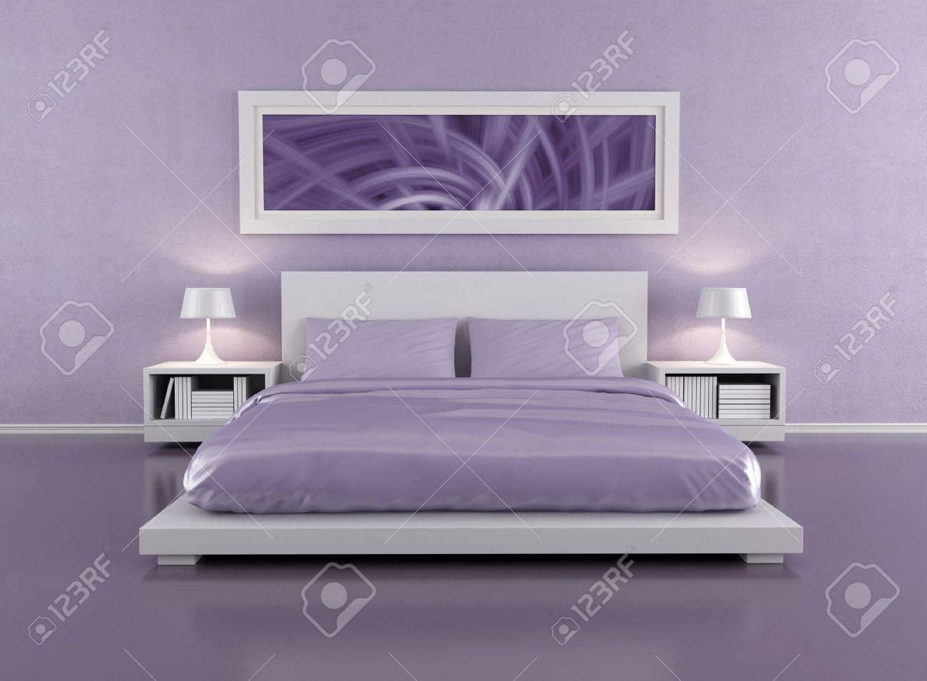 Parete Camera Da Letto Lilla : Minimalista camera da letto lilla rendering limmagine dell