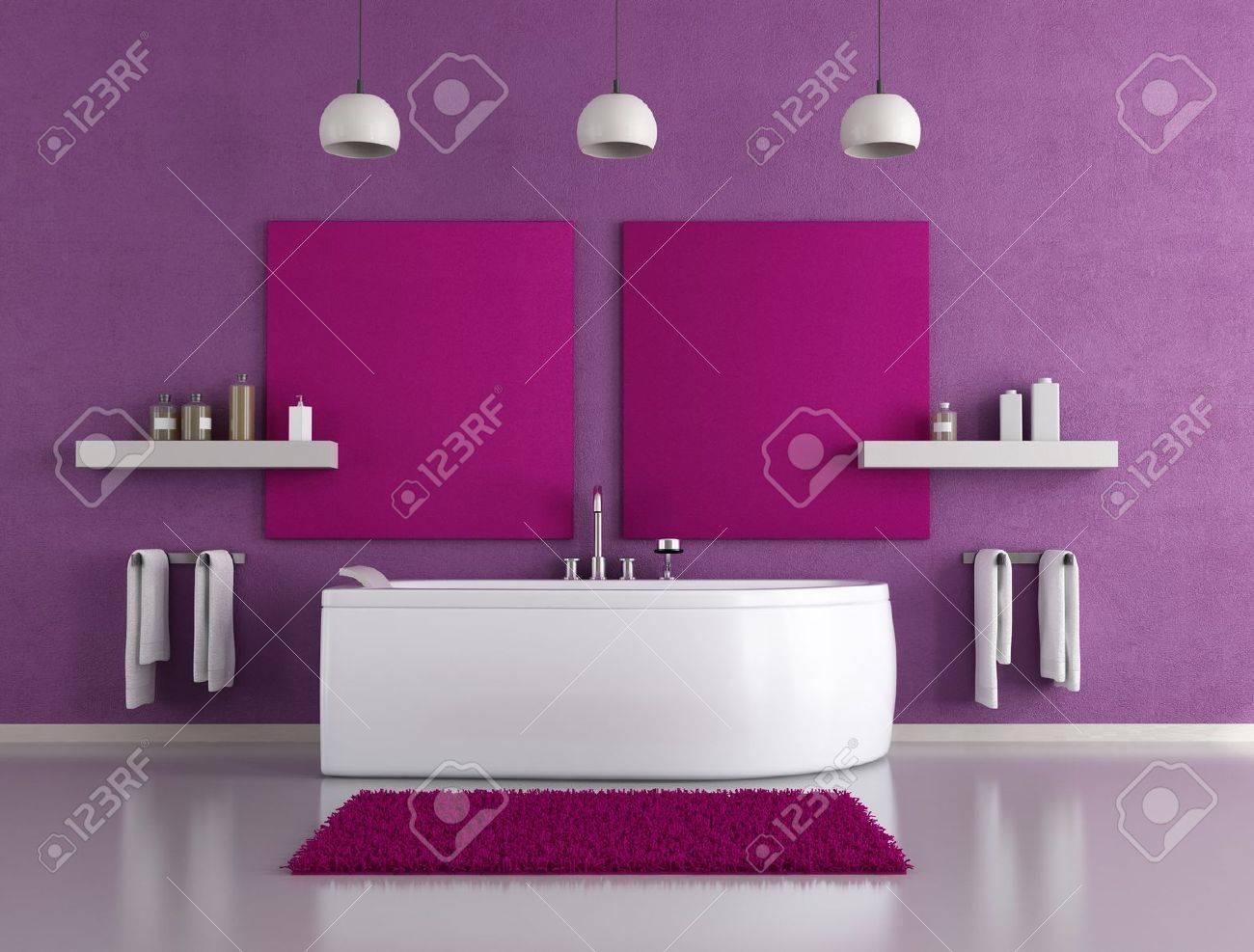 Cuarto de baño moderno con bañera morado blanco fotos, retratos ...