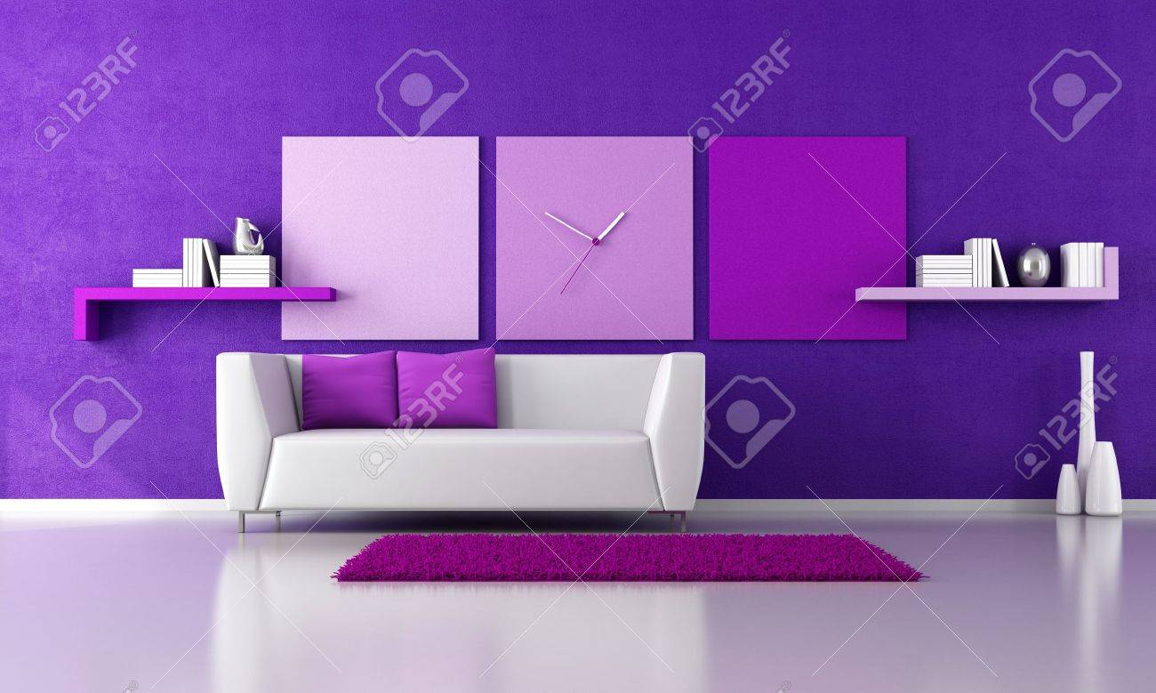 Stock Photo Minimalist Purple Livingroom With White Couch Rendering