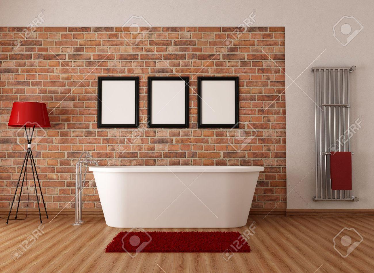 Salle de bains avec baignoire vintage blanc simple et mur de ...