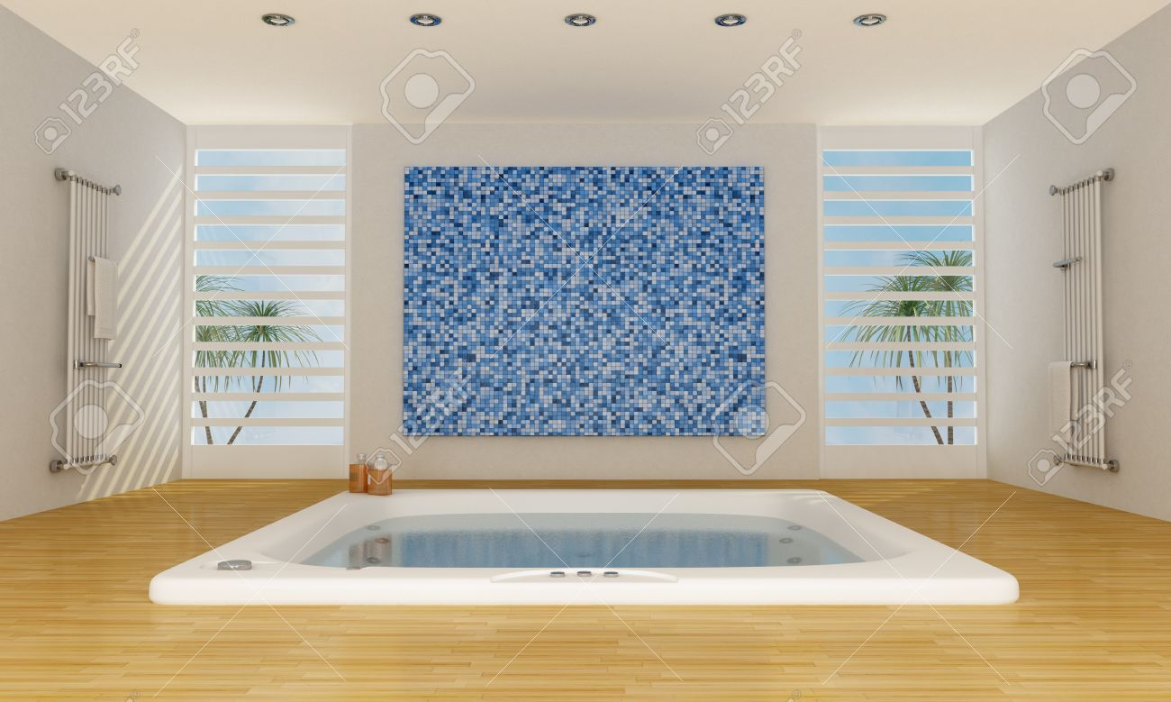 Modern Luxury Bathroom With Big Bathtub And Mosaic Wall - Rendering ...
