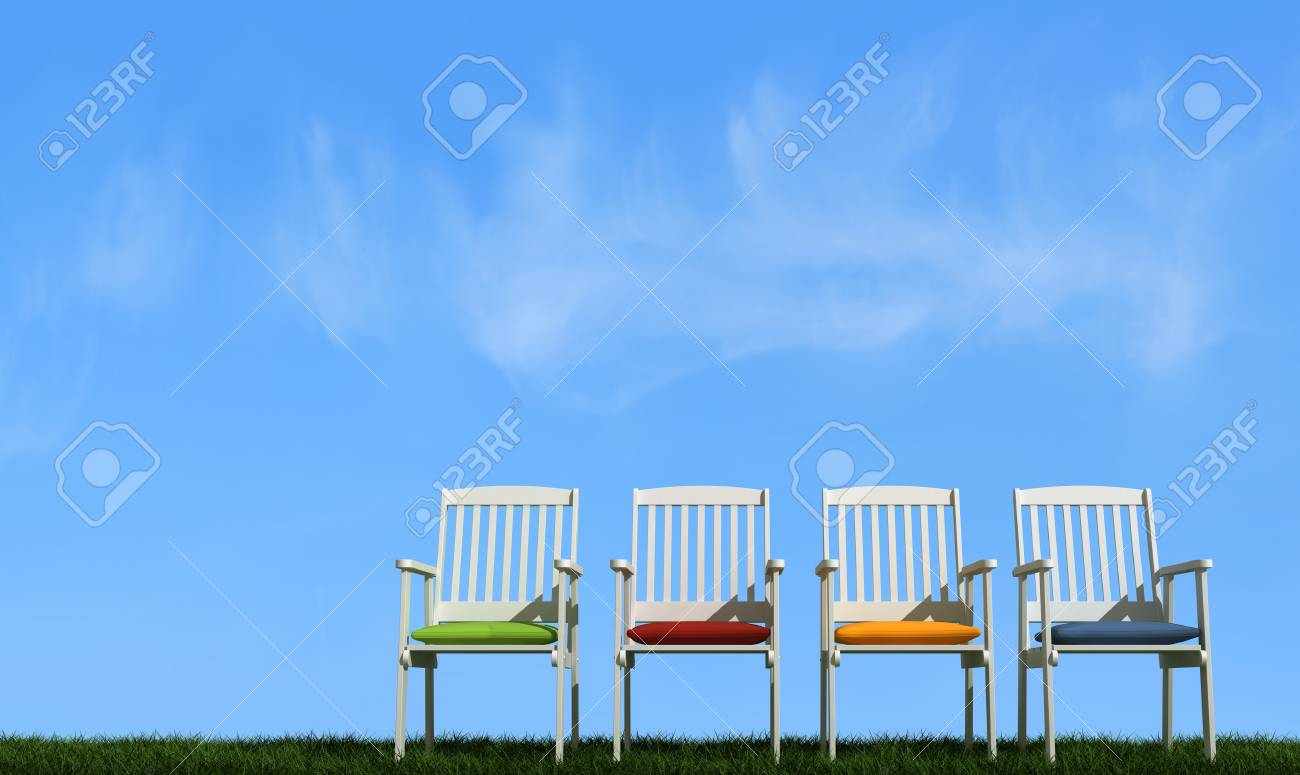 White chair with colorful cushion on grass in a sunny day - rendering Stock Photo - 13205297