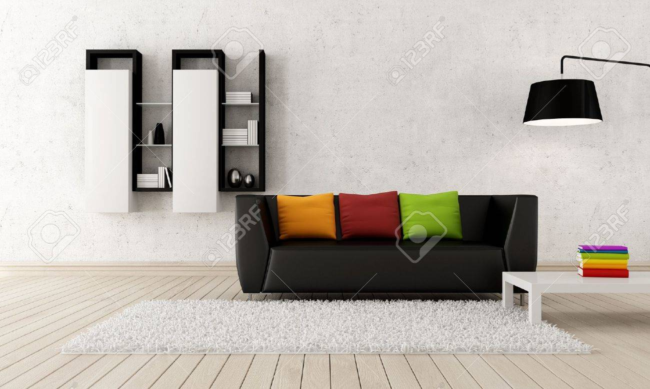Colorful Contemporary Living Room With Black Leather Couch -.. Stock ...