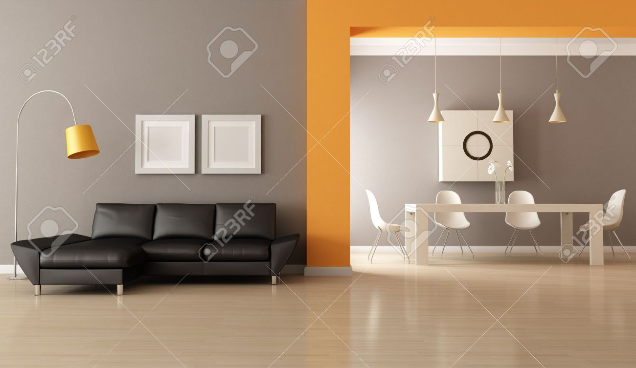 contemporary living room with dining space - rendering Stock Photo - 13635958