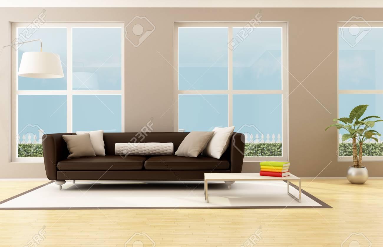 Helles Wohnzimmer Mit Braunen Sofa Und Großen Fenstern   Rendering  Standard Bild   14098152