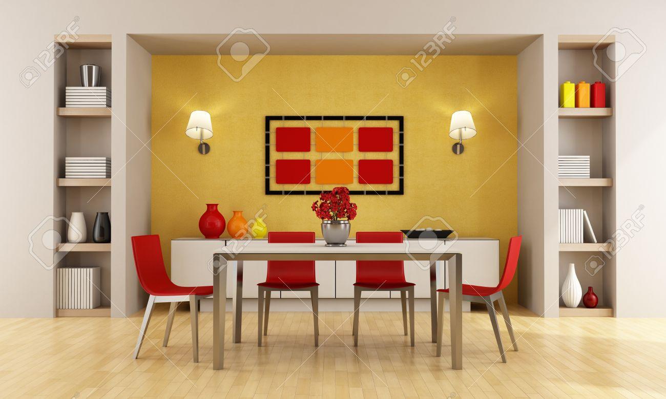 banque dimages rouge et orange salle manger moderne rendu