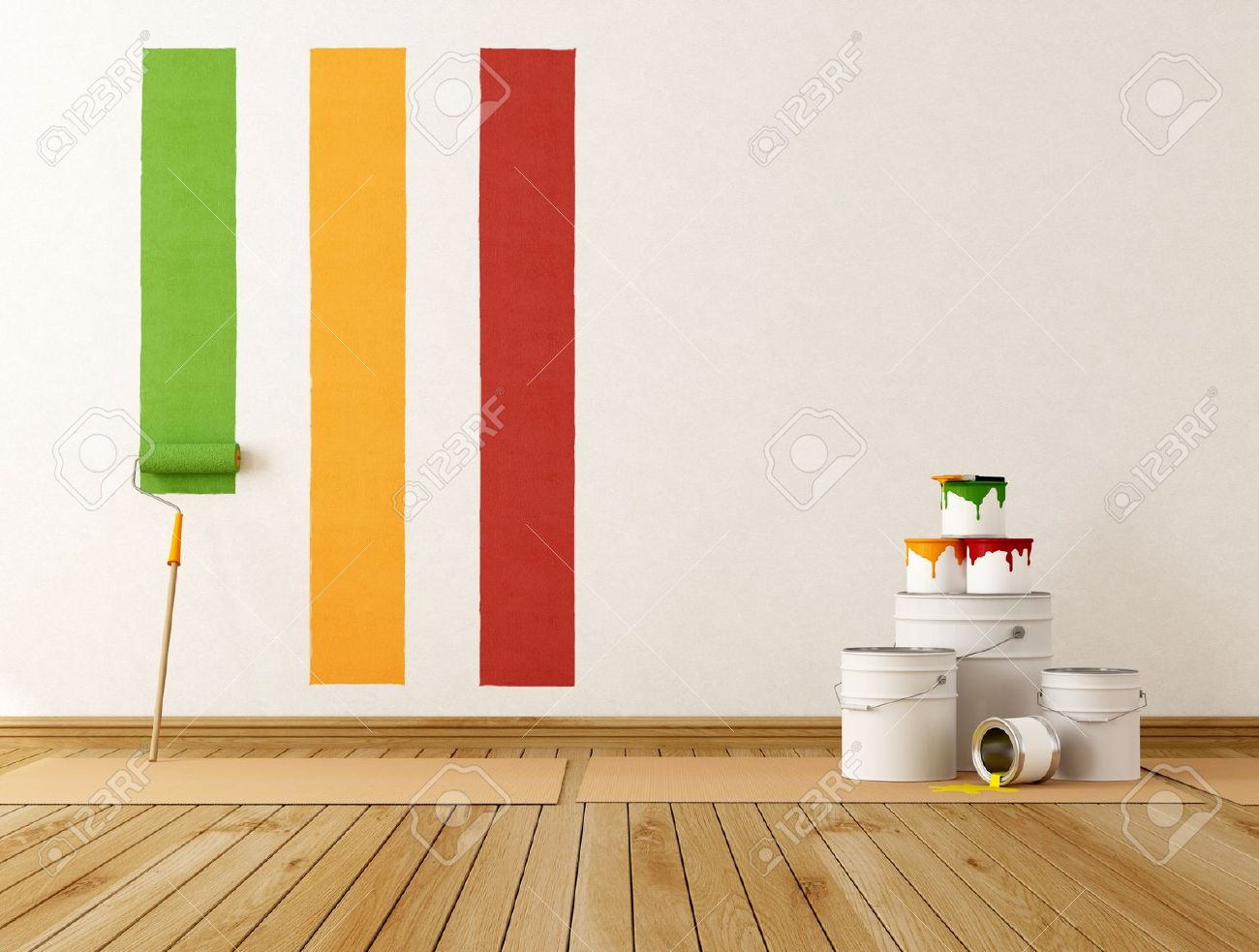 select color swatch to paint wall - rendering Stock Photo - 14274918