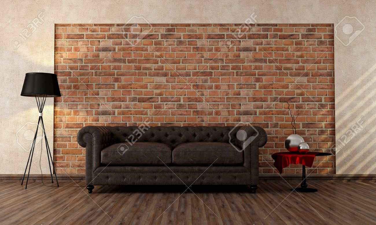 vintage livingroom with classic couch against brick wall