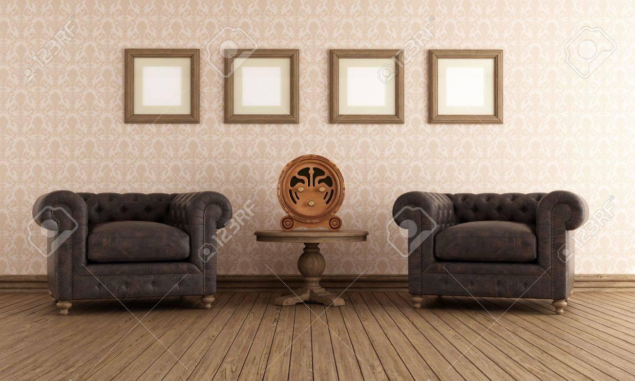 Läderfåtöljer : Vintage rum med två läderfåtölj och gamla radio rendering