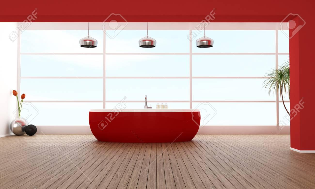 Minimalist Badezimmer Mit Roten Badewanne Gegen Große Fenster   Rendering  Standard Bild   14635277