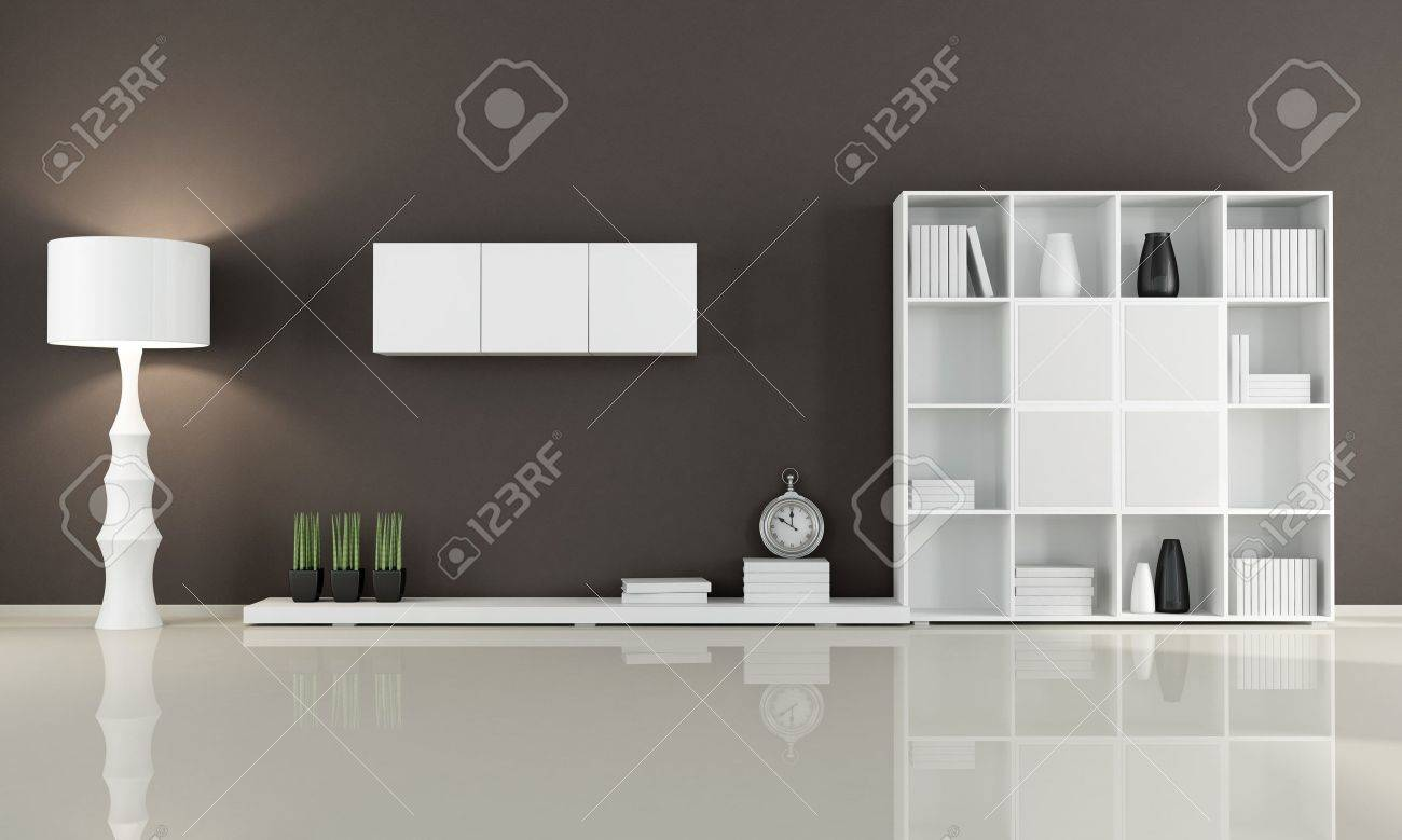 Living Room No Sofa brown living room without sofa - rendering stock photo, picture