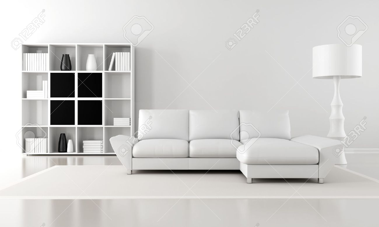 Minimalist Living Room Black And White Minimalist Living Room  Rendering Stock Photo