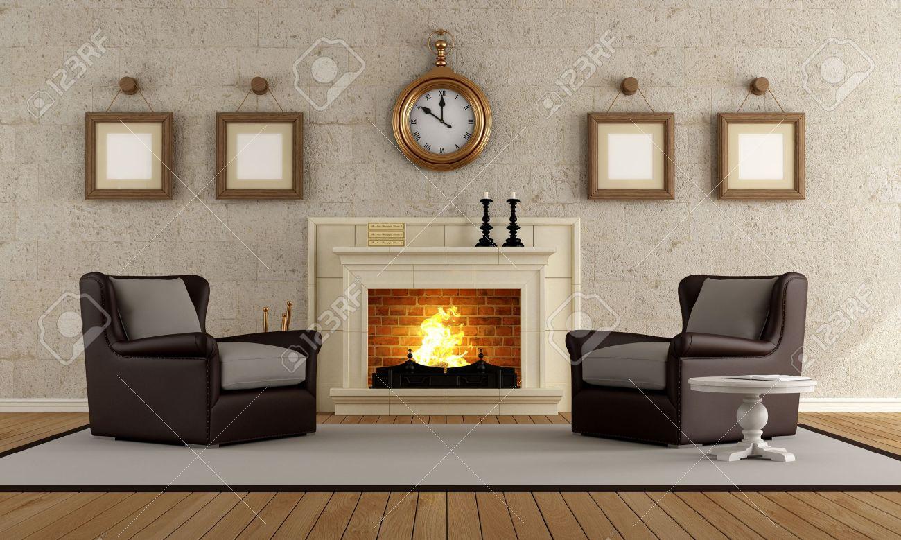 Vintage Wohnzimmer Mit Zwei Sessel Und Kamin   Rendering Lizenzfreie Bilder    15460455