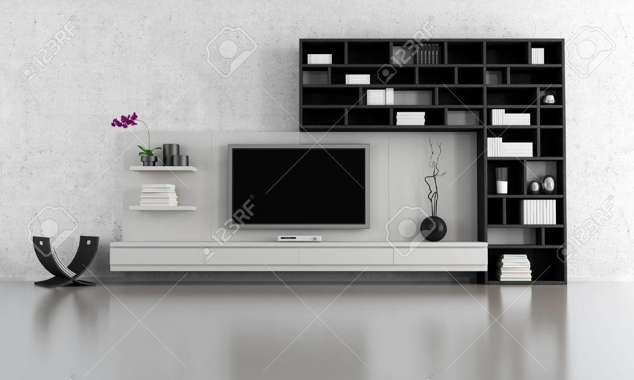 Black And White Living Room With Tv Stand And Bookcase - Rendering ...