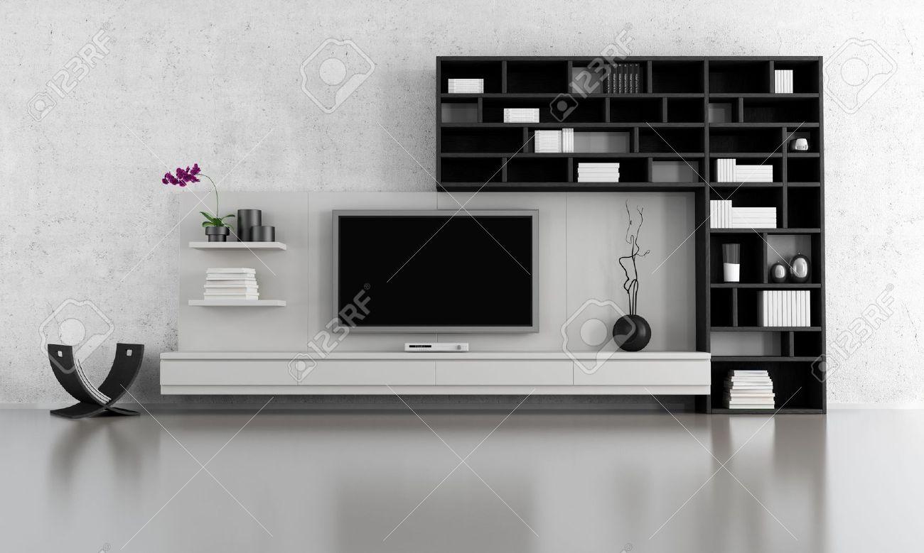 Salon noir et blanc avec meuble tv et bibliothèque   rendu banque ...