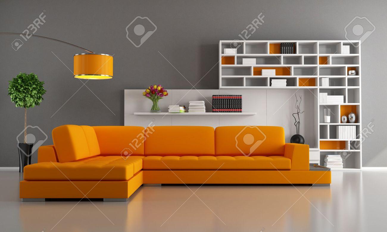 contemporary livingroom with orange sofa and bookcase rendering stock photo 15460450 - Orange Sofa