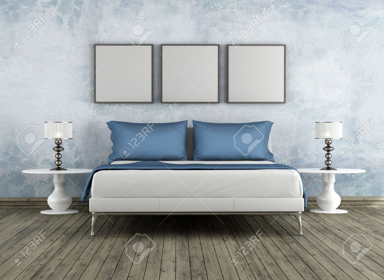 Modern bad in a vintage room   rendering stock photo, picture and ...