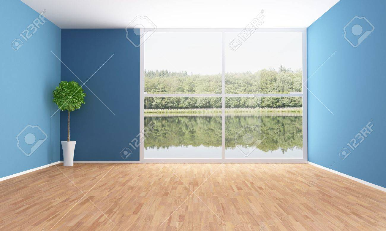 empty interior of a lake house stock photo 15563696