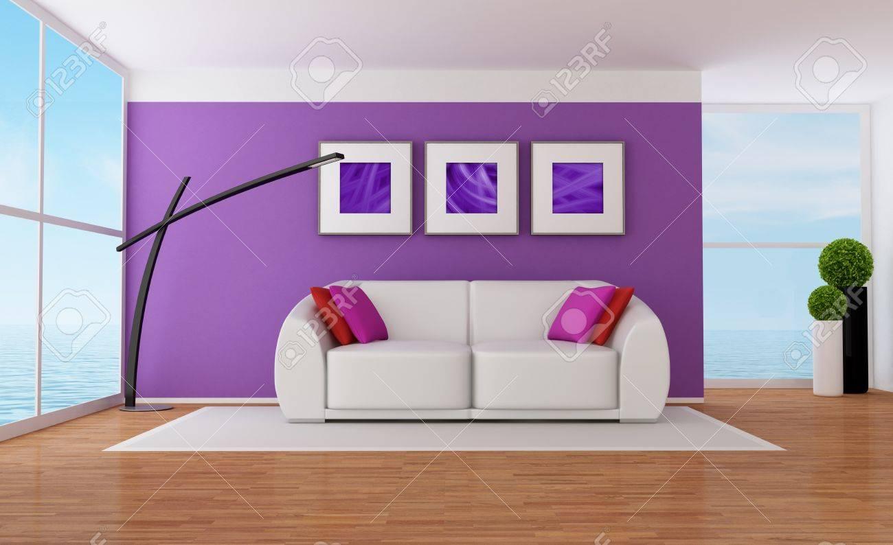 Minimalist Purple Wohnzimmer Mit Weissen Couch Lizenzfreie Fotos
