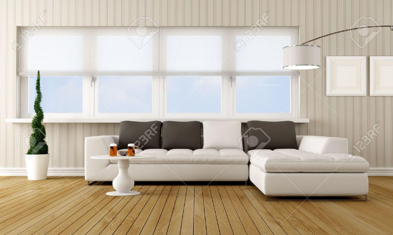 Moderne woonkamer met hoekbank in de voorkant van een groot raam ...