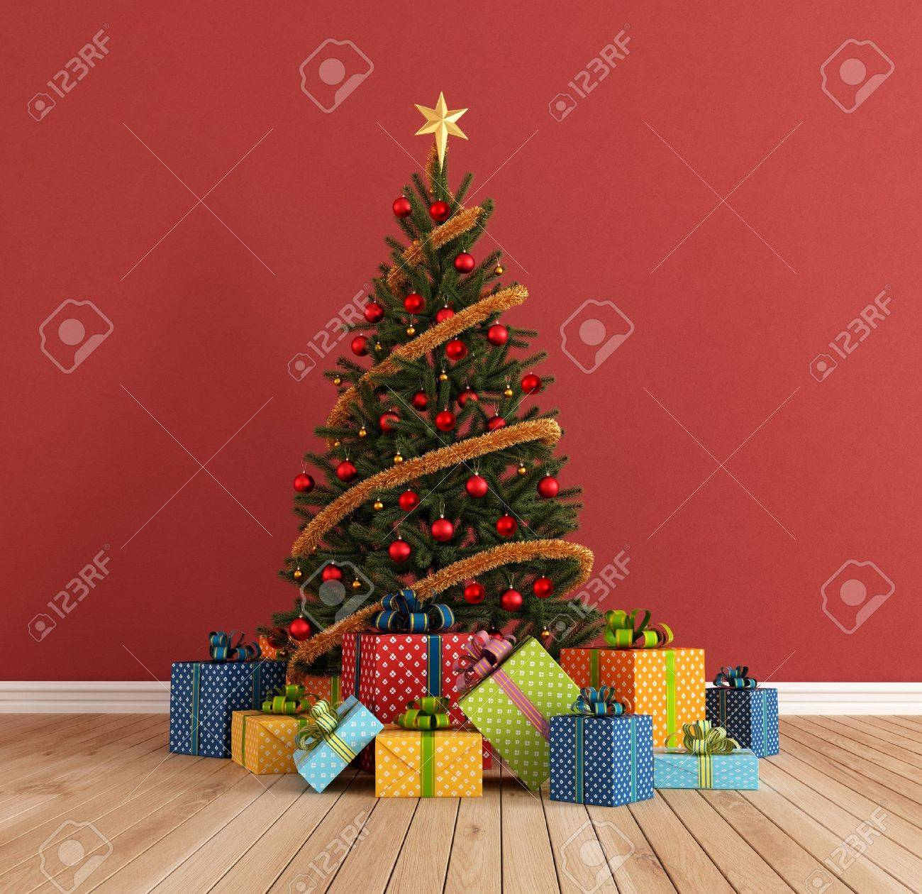 red room with christmas-tree and colorful gift - rendering Stock Photo - 15937845