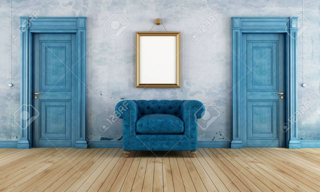 Blue empty vintage room with two classic doors and luxury armchair- rendering Stock Photo - & Blue Empty Vintage Room With Two Classic Doors And Luxury Armchair ...