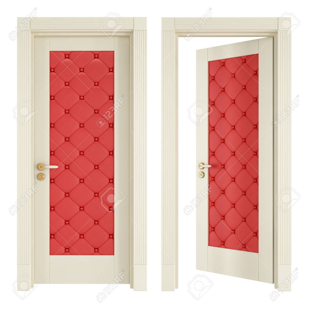 Open And Closed Classic Doors With Red Upholstery Isolated On White    Rendering Stock Photo