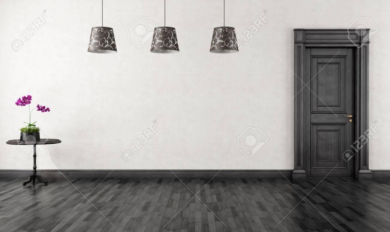 Vide chambre noire vintage avec porte rendu classique banque d ...