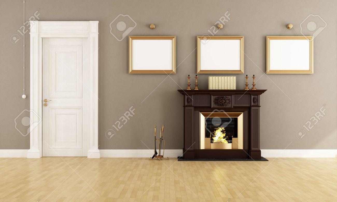 Klassieke bruine open haard in een vintage woonkamer met houten ...