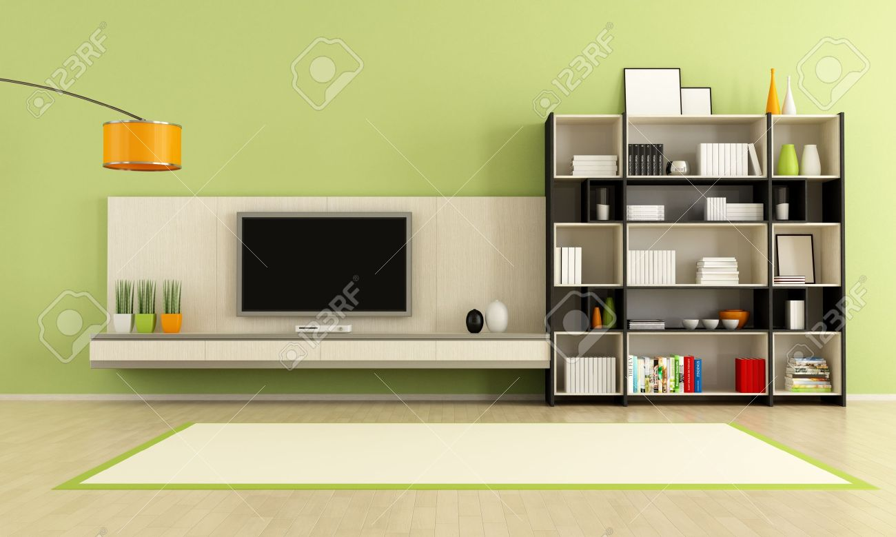Green Living Room With Tv Stand And Bookcase Rendering