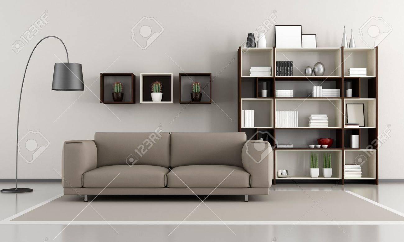Moderne Wohnzimmer Sofa Und Bücherregal - Rendering Lizenzfreie ...