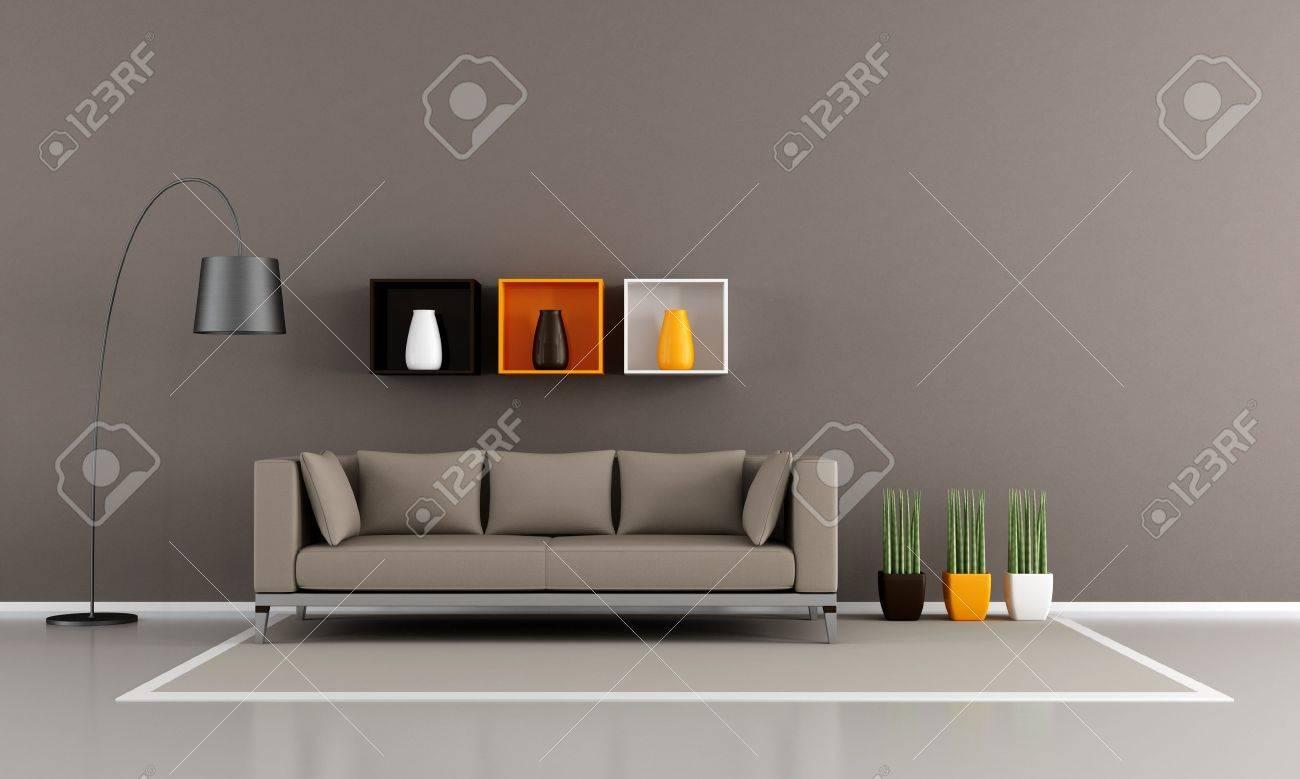 Zeitgenössische Wohnzimmer Mit Braunen Sofa - Rendering Lizenzfreie ...