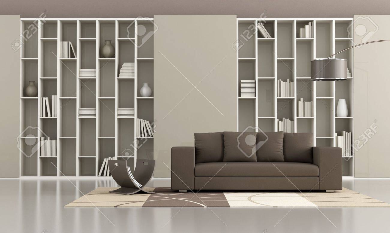 Bookcase With Sliding Doors And Brown Sofa In A Minimalist Living Room  Stock Photo   16852777