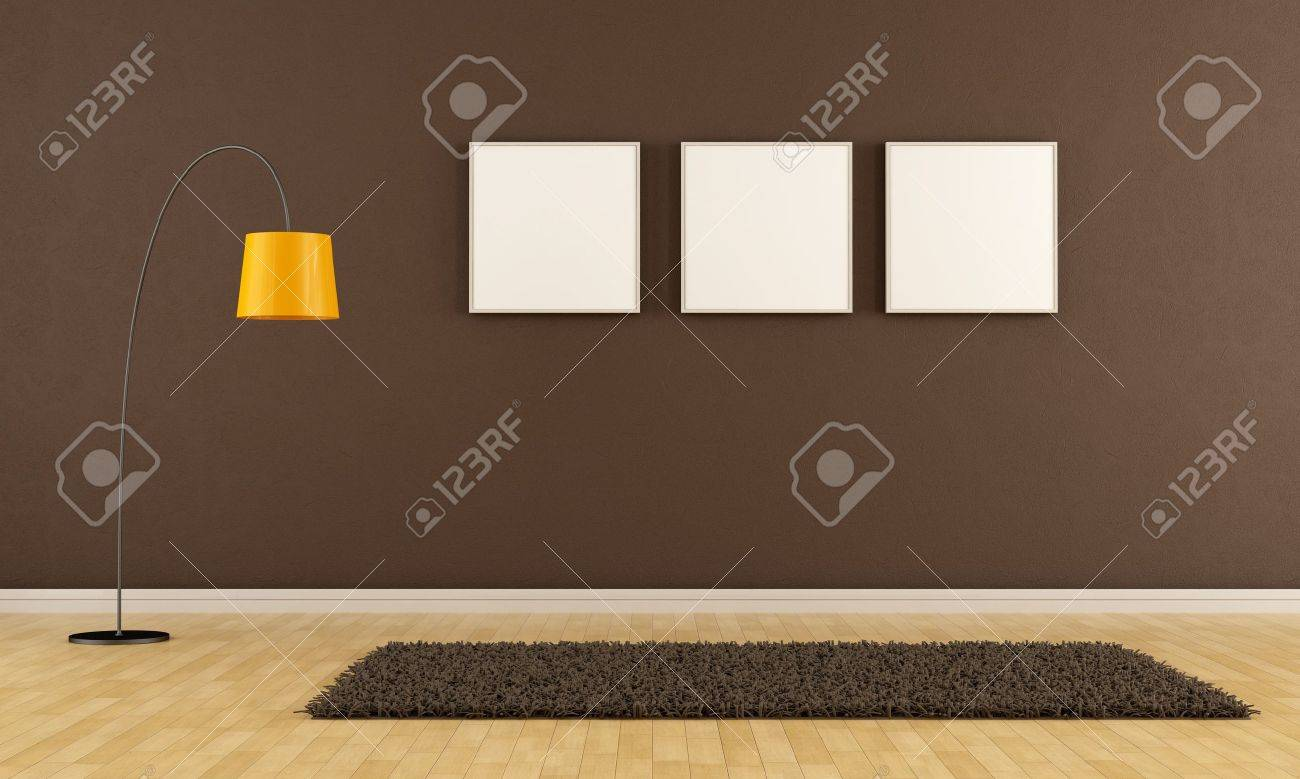 Empty living room with carpet - Empty Brown Living Room With Carpet Frame And Floor Lamp Rendering Stock Photo