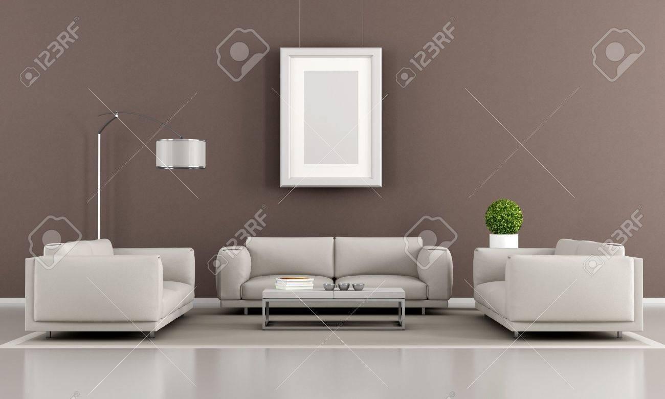 Samtida vardagsrum med två fåtölj och soffa   rendering royalty ...